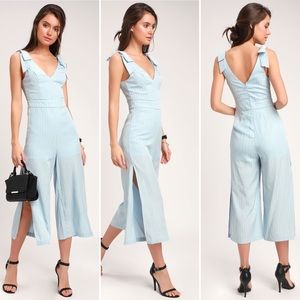 Honey Punch Ruth Light Striped Culotte Jumpsuit